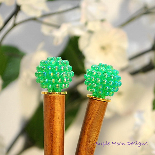 Pair of Green Hair Stick, Hair Jewelery - Purple Moon Designs - 1