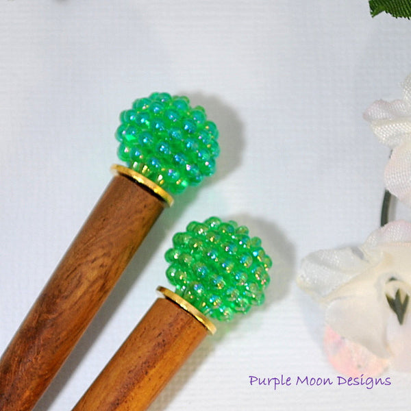 Pair of Green Hair Stick, Hair Jewelery - Purple Moon Designs - 2