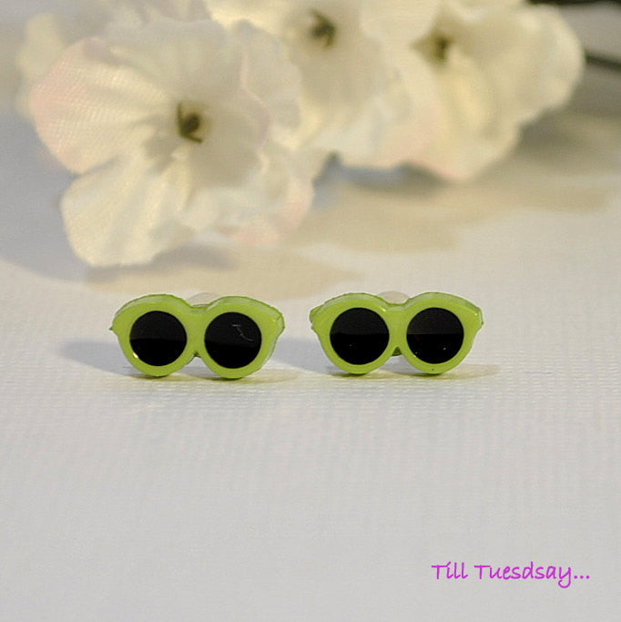 Tiny Green Sunglasses, 1/2 inch Post Earrings - Handmade by Purple Moon Designs