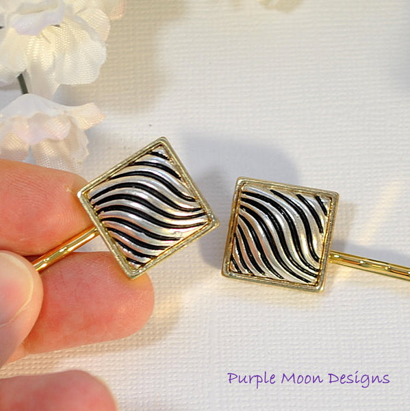 Gold and Silver Bobby Pin, Zebra Stripe Hair Pin - Purple Moon Designs - 2