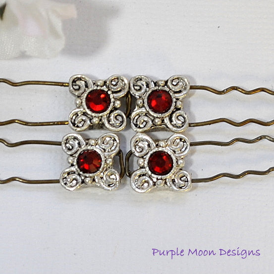 Red Silver Finishing Pins, Red French Bobbies - Purple Moon Designs - 1