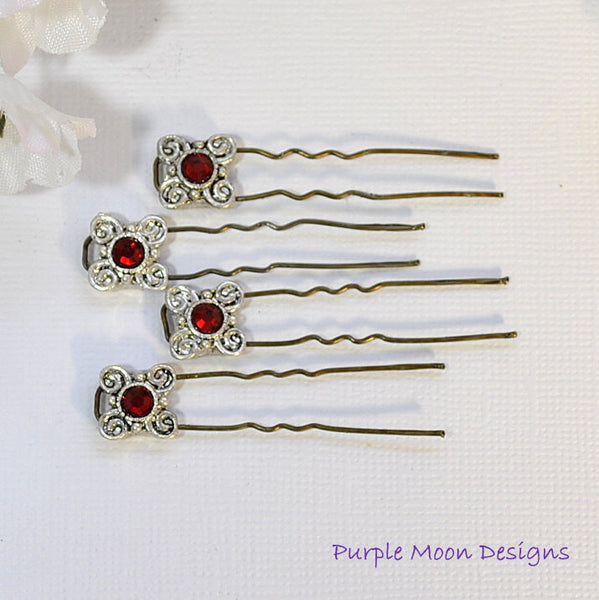 Red Silver Finishing Pins, Red French Bobbies - Purple Moon Designs - 2