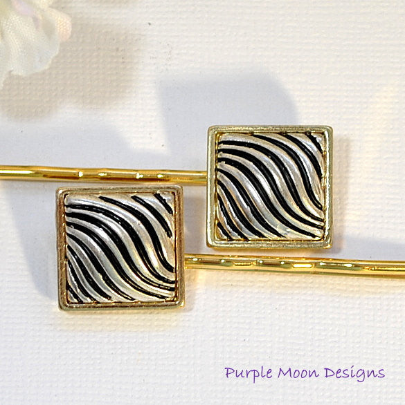 Gold and Silver Bobby Pin, Zebra Stripe Hair Pin - Purple Moon Designs - 1