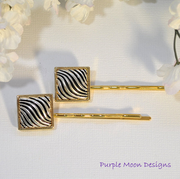 Gold and Silver Bobby Pin, Zebra Stripe Hair Pin - Purple Moon Designs - 3