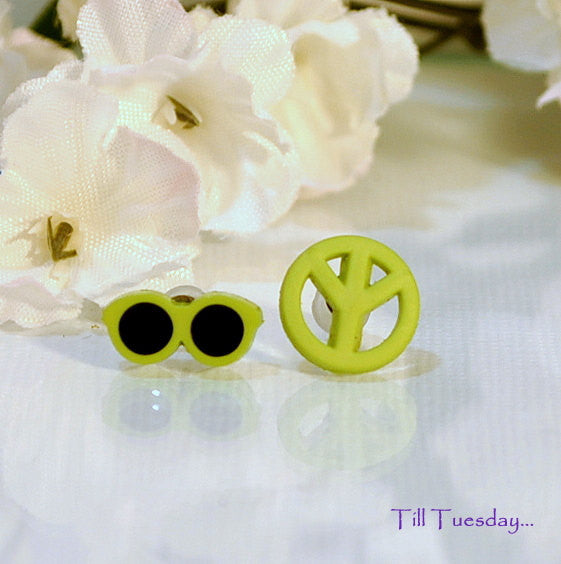 Hippy Earrings, Green Sunglasses and Peace Post Earring, Miss-Match Earrings - Purple Moon Designs - 1