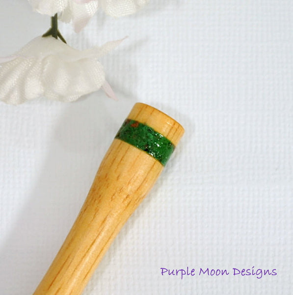 Green Malachite Banded Hair Stick, 6 inch - Purple Moon Designs - 2