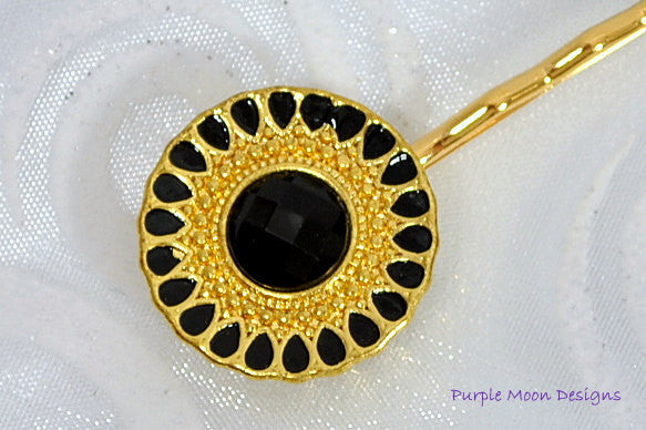 Gold Black Bobby Pin, Elegant Hair Clip - Purple Moon Designs - 1