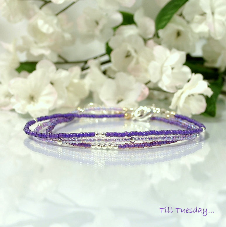 Purple Anklets Layering Ankle Bracelets Awareness Jewelry