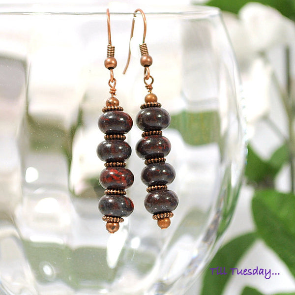 Dark Red Copper Drop Earrings, 2 inch - Handmade by Purple Moon Designs