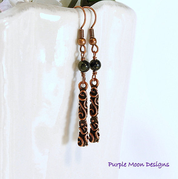 Green Copper Earrings, Small Earrings - Purple Moon Designs - 2