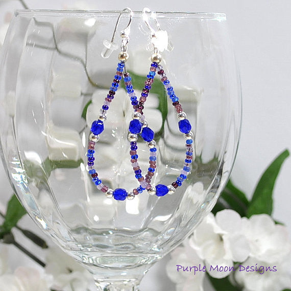 Blue Silver Drop Earrings, 2.5 inches - Purple Moon Designs - 1