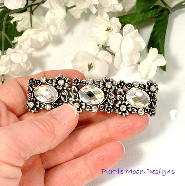 Flower Barrette, Bridal Hair Clip - Purple Moon Designs - 3
