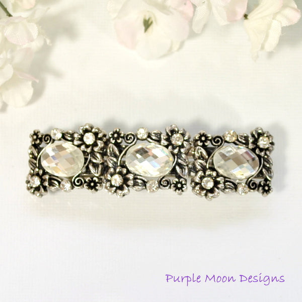 Flower Barrette, Bridal Hair Clip - Purple Moon Designs - 1