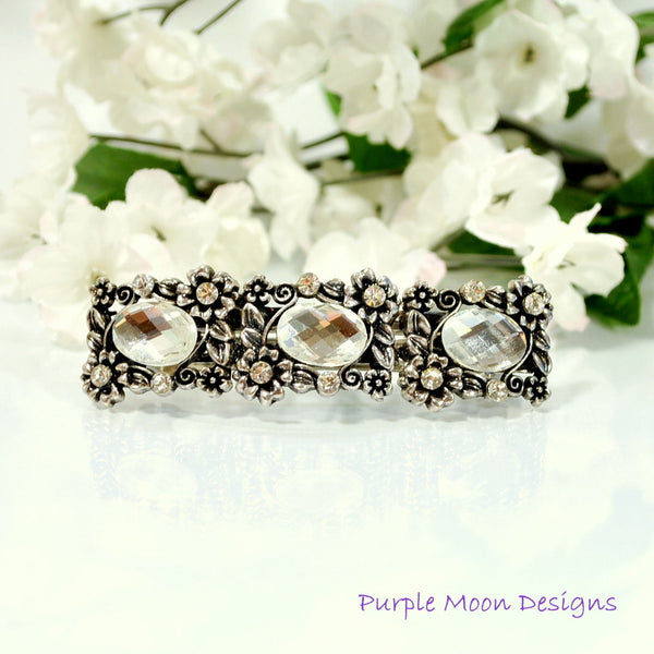 Flower Barrette, Bridal Hair Clip - Purple Moon Designs - 2