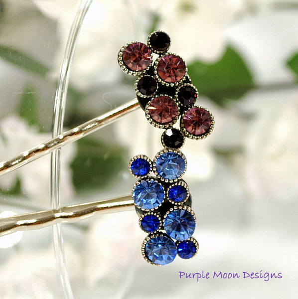 zPICTS - Maroon Crystal Bobby Pin - Purple Moon Designs - 1