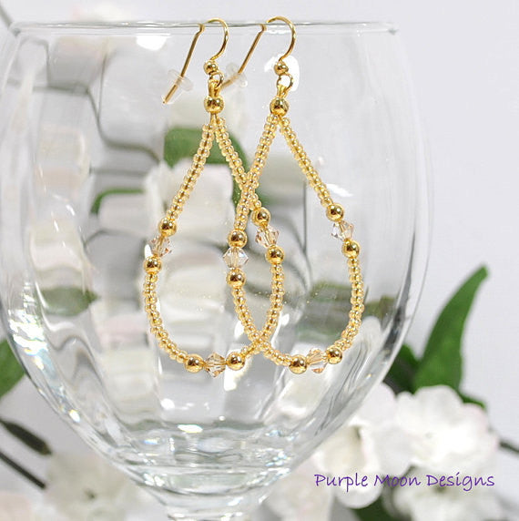 "Sparkly Champagne Earrings, Beige Gold Hoop Earring, 2.5"" - Purple Moon Designs - 1"