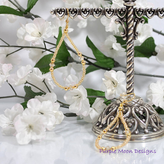 "Sparkly Champagne Earrings, Beige Gold Hoop Earring, 2.5"" - Purple Moon Designs - 2"