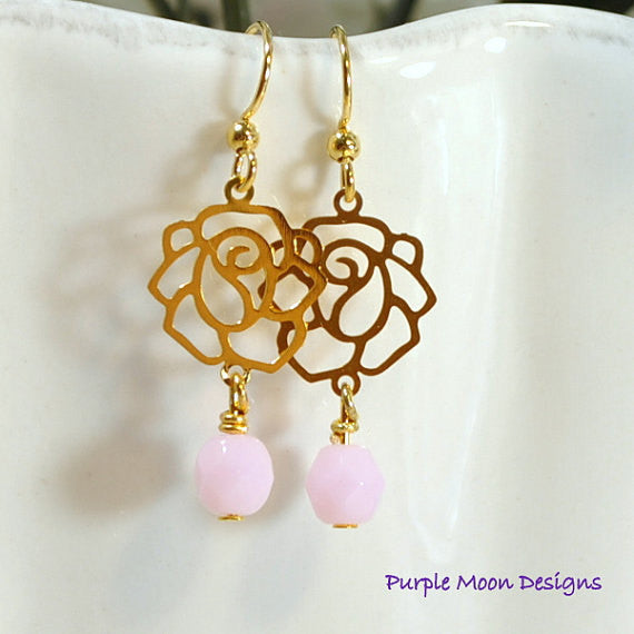 Pink Rose Earrings, Flower Earrings, 4.5 inch - Purple Moon Designs - 2