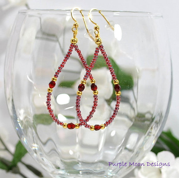 "Wine Drop Earrings, Maroon Gold Hoop Earrings, 2.5"" - Handmade by Purple Moon Designs"