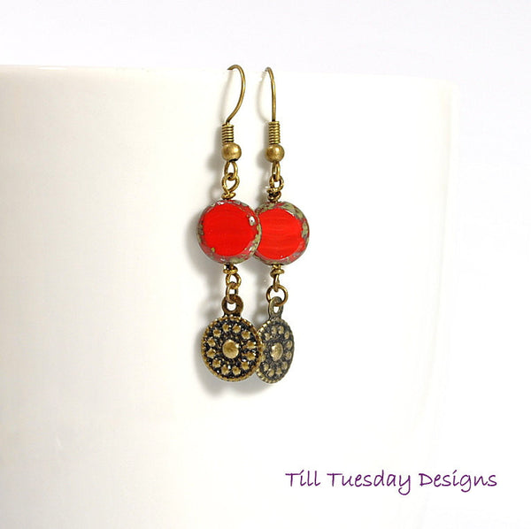 Red Bronze Earrings, Red Dangle Earring 2 inch - Purple Moon Designs - 1
