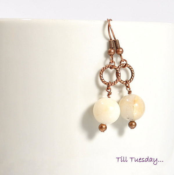 Cream and Copper Earrings, Cream Quartz Stone on Copper, 1.75 inch - Purple Moon Designs - 1