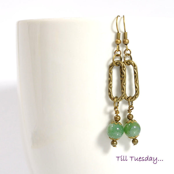 "Green Bronze Dangle Earrings, 2.5"" - Handmade by Purple Moon Designs"