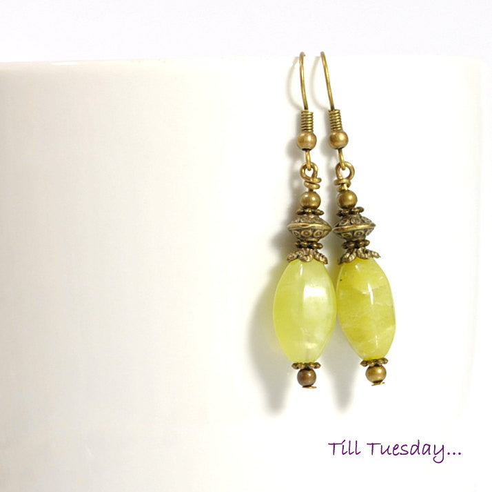 Spring Green Earrings, Yellow Green with Bronze, 2 inch - Purple Moon Designs - 1