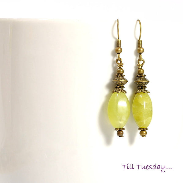 Spring Green Earrings, Yellow Green with Bronze, 2 inch - Purple Moon Designs - 2