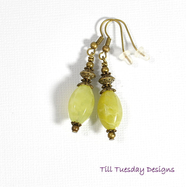 Spring Green Earrings, Yellow Green with Bronze, 2 inch - Purple Moon Designs - 3