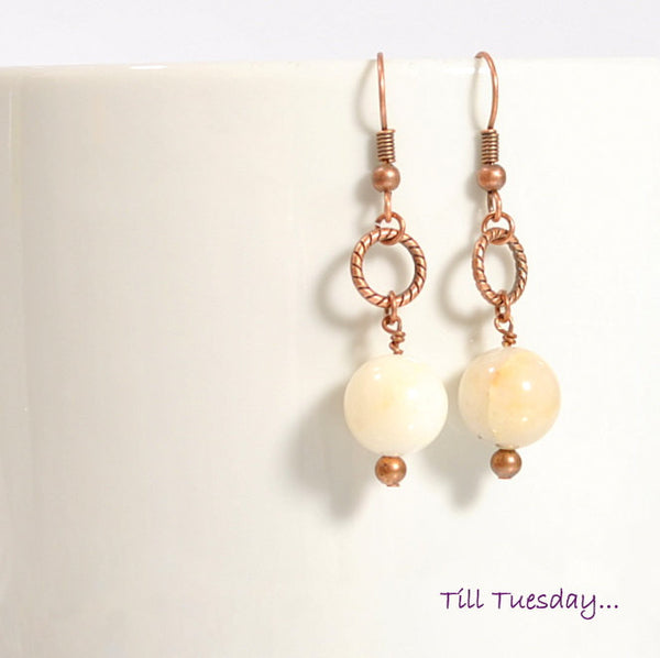Cream and Copper Earrings, Cream Quartz Stone on Copper, 1.75 inch - Purple Moon Designs - 2