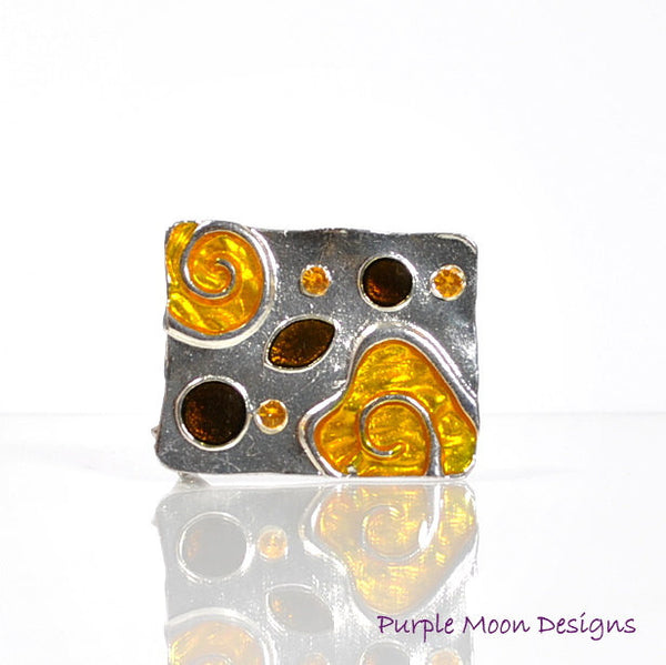 zINVENTORY - Orange Hair Pin, Orange Alligator Clip, Elegant Barrette - Purple Moon Designs - 1