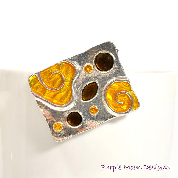 zINVENTORY - Orange Hair Pin, Orange Alligator Clip, Elegant Barrette - Purple Moon Designs - 2