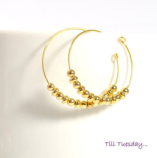 Golden Hoop Earrings - Gold Earrings - Gold Hoops - Purple Moon Designs - 1