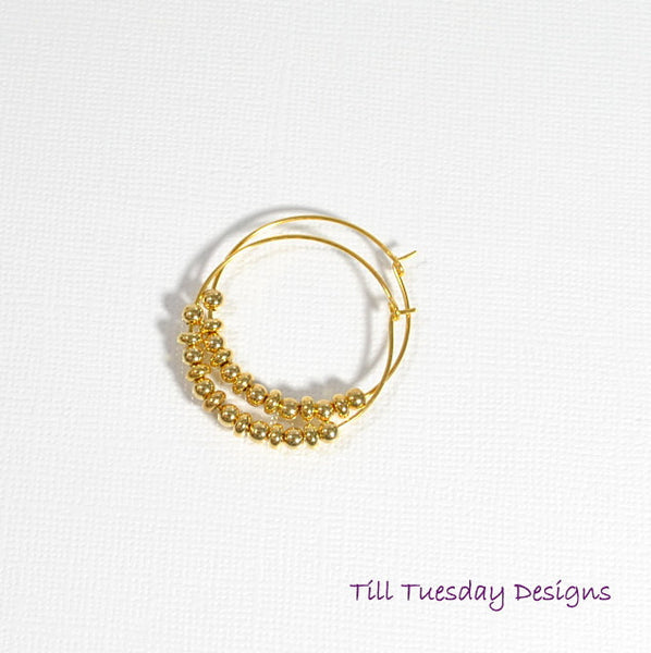 Golden Hoop Earrings, Hoop Earring - Handmade by Purple Moon Designs