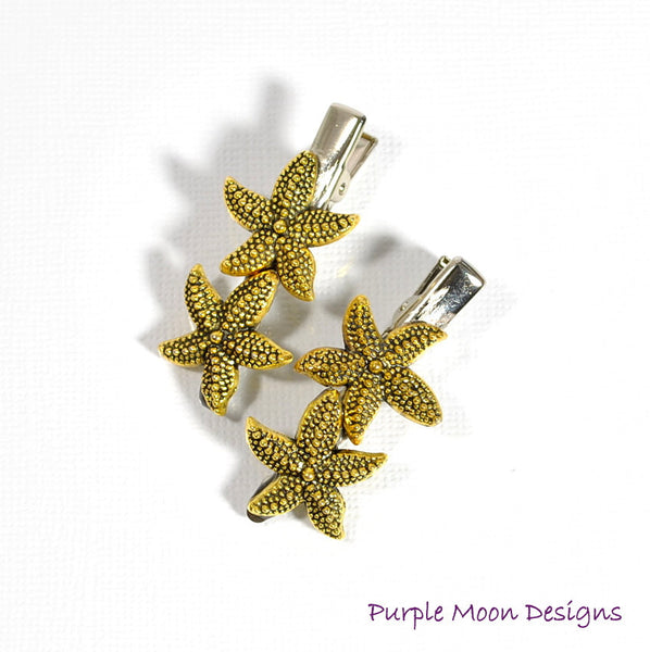 Gold Starfish Hair Clips, Sea Star Barrettes - Purple Moon Designs - 3