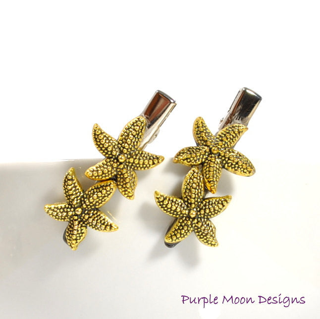 Gold Starfish Hair Clips, Sea Star Barrettes - Purple Moon Designs - 1