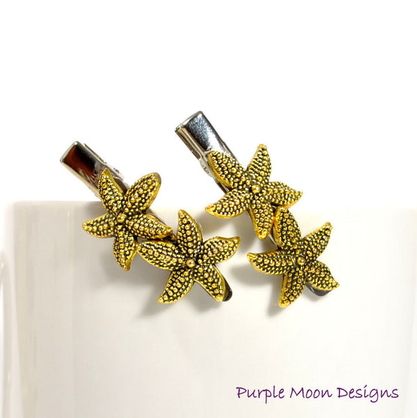 Gold Starfish Hair Clips, Sea Star Barrettes - Purple Moon Designs - 2