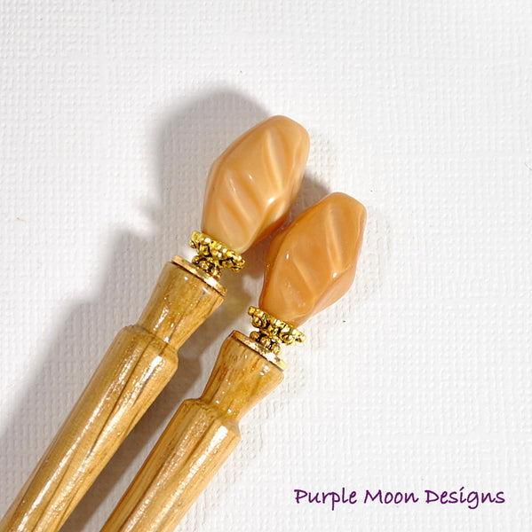 Pair of Caramel Hair Sticks, 4 inch - Purple Moon Designs - 2