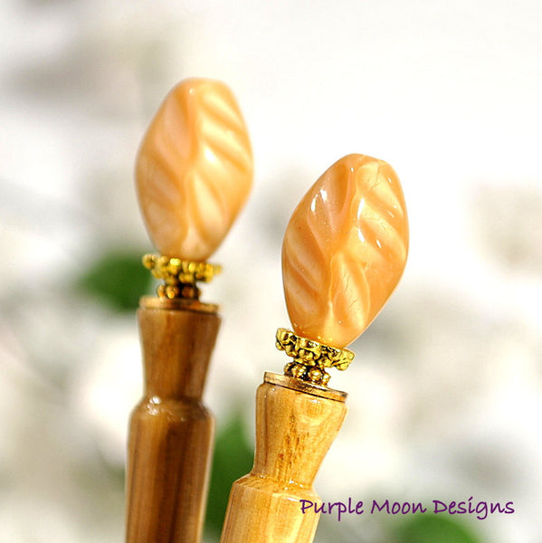 Pair of Caramel Hair Sticks, 4 inch - Purple Moon Designs - 1