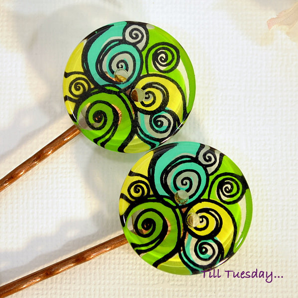Green Bobbies, Pair of Beach Bobby Pins - Purple Moon Designs - 1