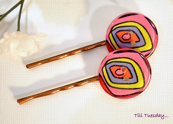 SALE - Pink Yellow Purple Bobby Pins, Pair of Colorful Hair Pins - Purple Moon Designs - 2
