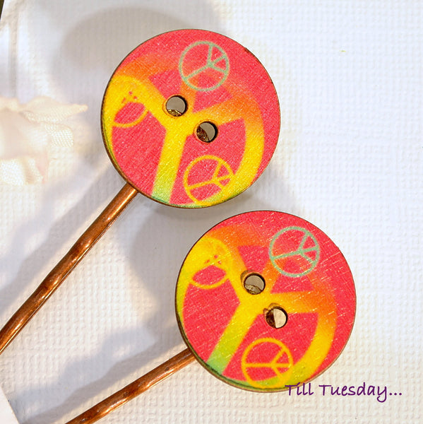 Peace Bobby Pins, Hippy Bobbies, Pink Yellow Hair Pins - Handmade by Purple Moon Designs