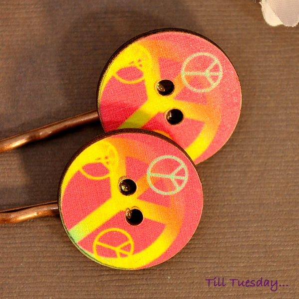 Peace Bobby Pins, Hippy Bobbies, Pink Yellow Hair Pins - Purple Moon Designs - 3