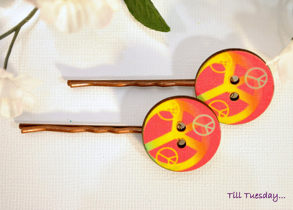 Peace Bobby Pins, Hippy Bobbies, Pink Yellow Hair Pins - Purple Moon Designs - 4