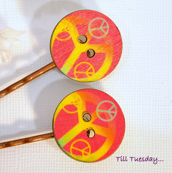 Peace Bobby Pins, Hippy Bobbies, Pink Yellow Hair Pins - Purple Moon Designs - 2