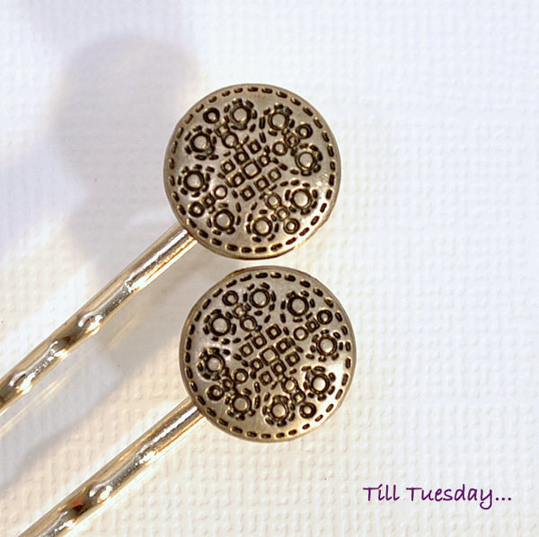 Pair of Metal Button Bobby Pins, Small Bobbies - Purple Moon Designs - 1