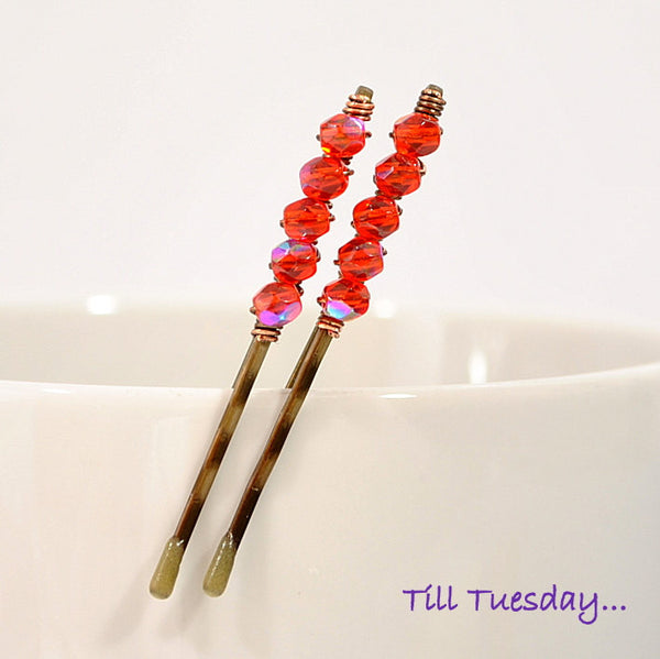 Pair of Orange Beaded Bobby Pins, Orange Crystal Hair Pins - Purple Moon Designs - 1