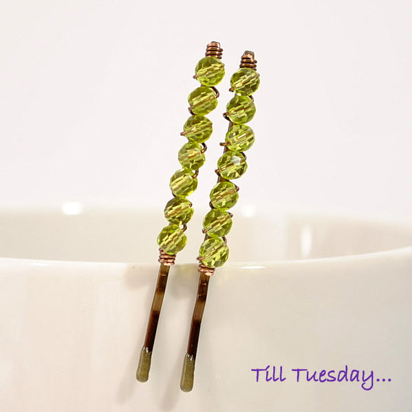 Green Bobby Pins Green Beaded Hair Pins - Handmade by Purple Moon Designs