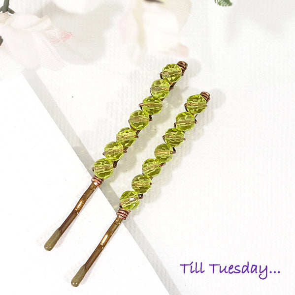 Pair of Green Beaded Bobby Pins, Green Crystal Bobbies - Purple Moon Designs - 2
