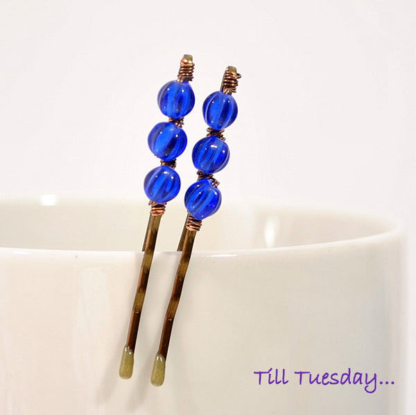 Blue Beaded Bobby Pins, Pair of Bobbies - Purple Moon Designs - 1